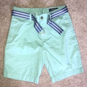 Boys 10 teal polo shorts with belt